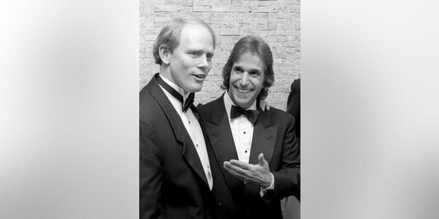 Ron Howard (left) and Henry Winkler attending the Fifth Annual American Cinematheque Awards on March 23, 1990, at the Century Plaza Hotel in Century City, California.
