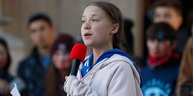 Swedish climate activist Greta Thunberg speaks to several thousand people at a climate strike rally last Friday in Denver, Colo. (AP)