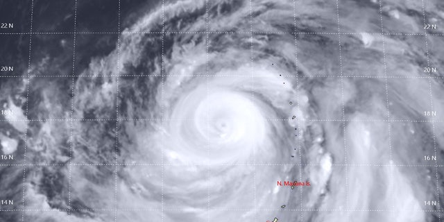 Super Typhoon Hagibis can be seen on Tuesday in this satellite photo.