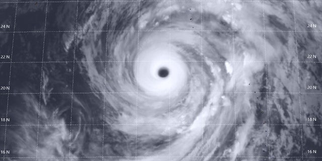 Super Typhoon Hagibis can be seen on Wednesday in this satellite photo.