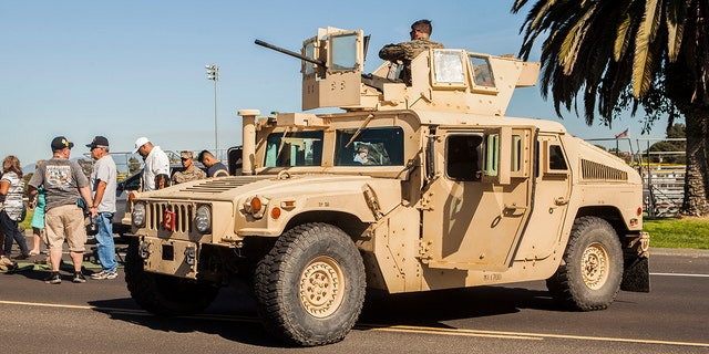 A U.S. Marine Corps vehicle similar to the one above was involved in a vehicle accident in Bridgeport, Calif., on Sunday, resulting in the death of a Marine.