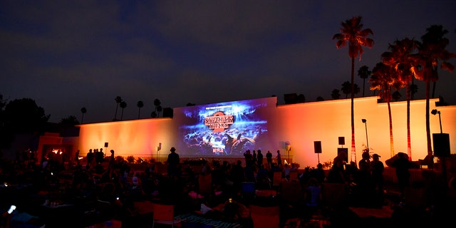 """Hollywood Forever cemetery in Los Angeles often hosts movie nights or cultural events. In August 2018, guests watched the Netflix hit """"Stranger Things"""" at the cemetery."""