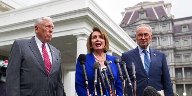 House Majority Leader Steny Hoyer of Md., left, House Speaker Nancy Pelosi of Calif., and Senate Minority Leader Chuck Schumer of N.Y. (AP Photo/Alex Brandon)