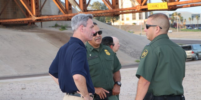 U.S. Citizenship and Immigration Services Acting Director Ken Cuccinelli talks to Border Patrol agents in Laredo, Texas. (Adam Shaw/Fox News)