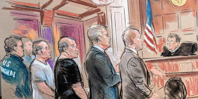 A courtroom sketch of Lev Parnas and Igor Fruman, associates of Rudy Giuliani, during their bond hearing. (William Hennessy Jr / CourtroomArt.com)