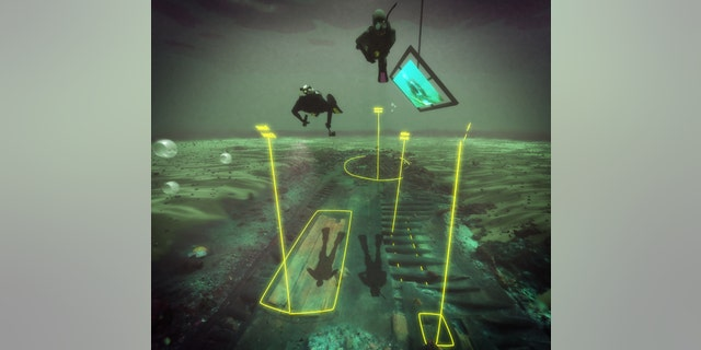A scene from the virtual dive, with divers swimming over the wreck as it appears today, with areas of the wreck labeled in yellow.