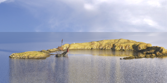 A digital reconstruction of the wreck as it may have appeared the morning after the storm. (Image by John McCarthy)