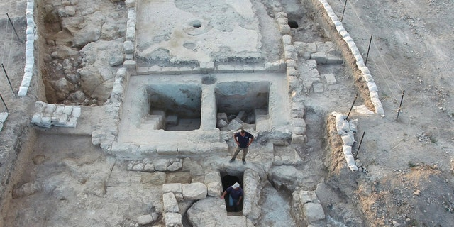 Aerial view of the winepresses and the adjacent ritual bath at the Usha site.