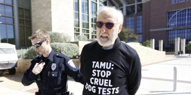 Actor James Cromwell following his arrest at Texas A&M.