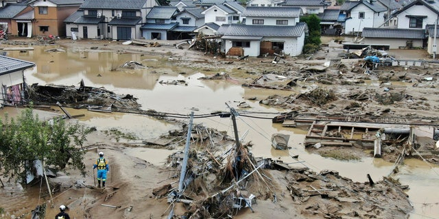 This photo shows a flooded area in Nagano, central Japan, following Typhoon Hagibis, on Oct. 14, 2019.