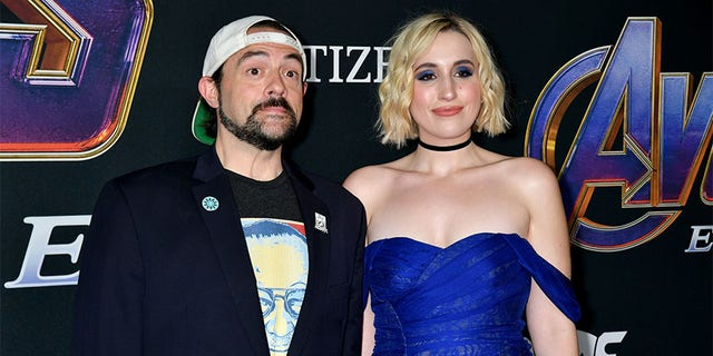 "Kevin Smith and Harley Quinn Smith attend the World Premiere of Walt Disney Studios Motion Pictures ""Avengers: Endgame"" at Los Angeles Convention Center on April 22, 2019, in Los Angeles, California."
