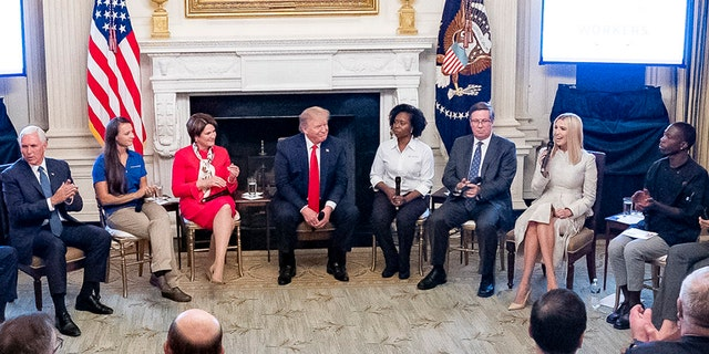 Vice President Pence, far left, and President Trump appeared at the event Brummit, far right, attended. (The White House)