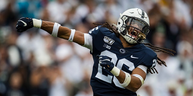 Jonathan Sutherland #26 of the Penn State Nittany Lions celebrates after a tackle against the Pittsburgh Panthers during the second half at Beaver Stadium on September 14, 2019 in State College, Pennsylvania. (Photo by Scott Taetsch/Getty Images)
