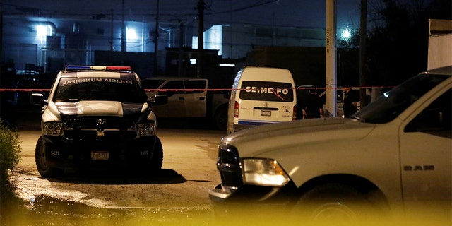Police vehicles and a yellow police line cordon are pictured at a crime scene after a National Geographic journalist was shot in the leg late Friday while interviewing an alleged drug dealer. (REUTERS/Jose Luis Gonzalez)