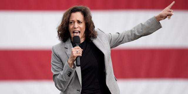Democratic presidential candidate Sen. Kamala Harris, D-Calif. speaks at the Polk County Democrats Steak Fry, in Des Moines, Iowa, Saturday, Sept. 21, 2019. (AP Photo/Nati Harnik)