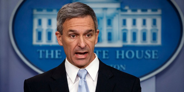 Ken Cuccinelli,acting director of U.S. Citizenship and Immigration Services, speaks at the White House in Washington, Aug. 12, 2019. (Associated Press)