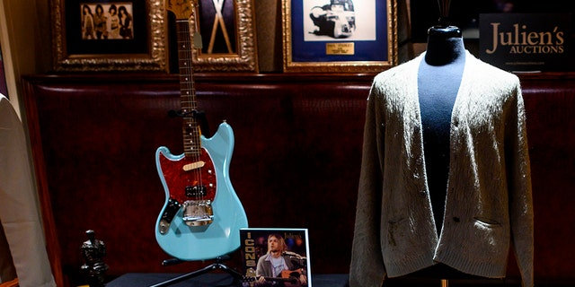 Kurt Cobain's Cardigans of the MTV Unplugged Nirvana Show from 1993 were shown at Hard Rock Cafe in New York at the auction of Julien's Auctions on October 21, 2019 in New York.