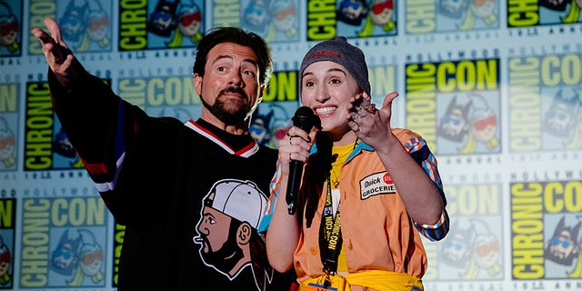Kevin Smith (left) with his daughter Harley Quinn Smith.