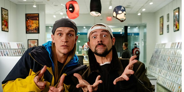 "Jason Mewes (left) and Kevin Smith star in ""Jay and Silent Bob Reboot."""