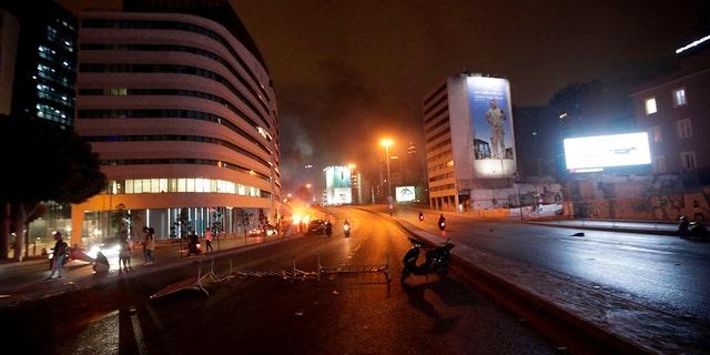 Lebanese demonstrators close roads on Thursday, again in Beirut. (Anwar Amro/AFP via Getty Images)