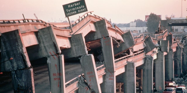 The remains of the Cypress Freeway, which ran through the center of Oakland, following the San Francisco earthquake of 1989.