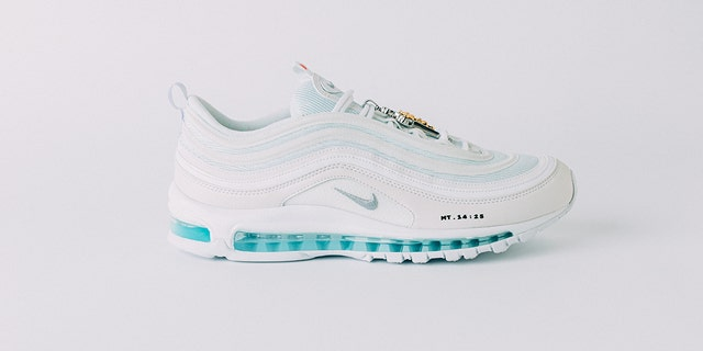 Brooklyn-based creative label MSCHF released the shoe, which is a pair of all-white Nike Air Max 97s that have been injected with holy water sourced from the Jordan River.
