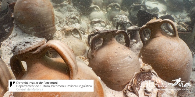Some of the amphorae discovered on the shipwreck.