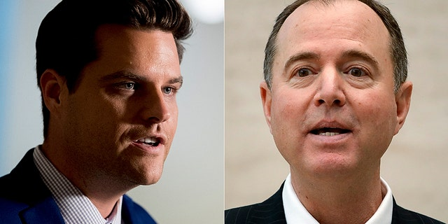 Rep. Matt Gaetz, R-Fla., (left) filed a formal ethics complaint against House Intelligence Committee Chairman Adam Schiff, D-Calif. (right.)