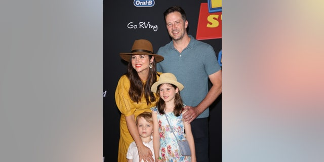 Tiffani Thiessen and family arrive at the Los Angeles premiere of Disney and Pixar's
