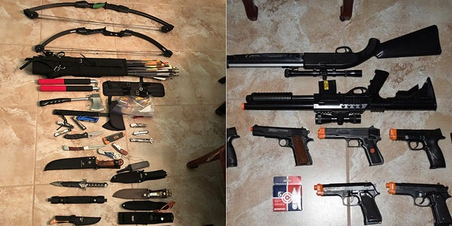Photos showing items seized by deputies who arrested Michelle Louise Kolts on charges of carrying out 24 bombs.