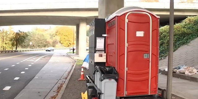 Officials in Portland have deployed a mobile hygiene unit which is comprised of two portable toilets, hand-washing stations, a garbage can, sharp box and lockers to help improve areas near homeless encampments.