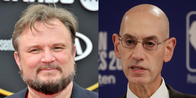 Houston Rockets general manager Daryl Morey, left, and NBA Commissioner Adam Silver. (FILE)