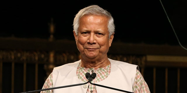 "NEW YORK, NEW YORK - SEPTEMBER 27: Muhammad Yunus speaks onstage during the Whitaker Peace & Development Initiative (WPDI) ""Place for Peace"" at Gotham Hall on September 27, 2019 in New York City. (Photo by Bennett Raglin/Getty Images for Whitaker Peace & Development Initiative)"