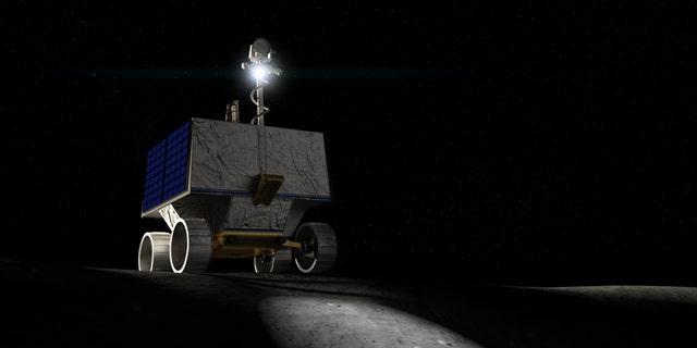 Artistic representation of NASA Volatile Investigating Polar Exploration Rover or VIPER.
