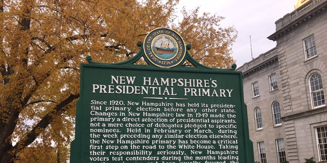 The first-in-the-nation presidential primary sign, across the street from the New Hampshire State House, in Concord, NH