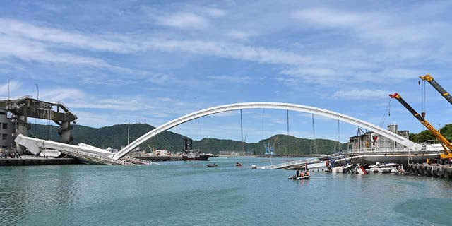 The Nanfangao Bridge in eastern Taiwan collapsed around 9:30 a.m. on Tuesday, officials said.