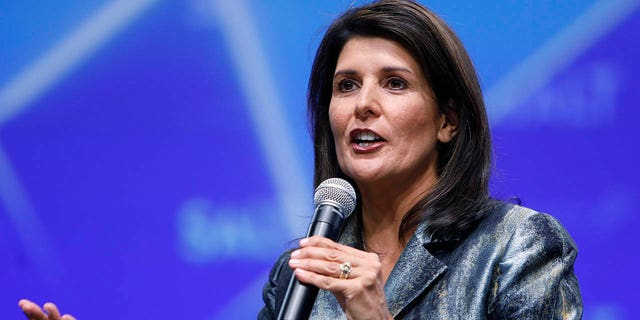 Nikki Haley, former U.S. ambassador to the United Nations (UN), speaks during the Skybridge Alternatives (SALT) conference in Las Vegas, Nevada, U.S., on Thursday, May 9, 2019. SALT brings together investors, policy experts, politicians and business leaders to network and share ideas to unlock growth opportunities in finance, economics, entrepreneurship, public policy, technology and philanthropy. Photographer: Joe Buglewicz/Bloomberg via Getty Images