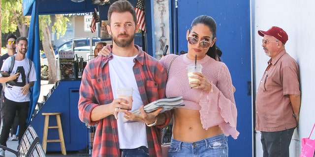 Nikki Bella and Artem Chigvintsev are seen on September 30, 2019, in Los Angeles, Calif.