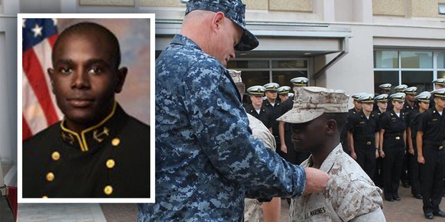 Future midshipman Nixon Keago in his Marine uniform at the Naval Academy Preparatory School on Oct. 6, 2016.?