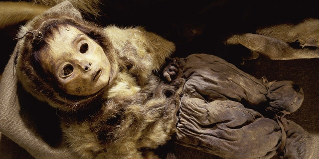 Greenlandic child, preserved through natural mummification. (Credit: Werner Forman Archive/Shutterstock)