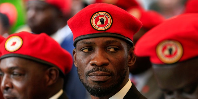 Ugandan musician turned politician, Robert Kyagulanyi also known as Bobi Wine attends a news conference at his home in Kasangati, Kampala, Uganda July 24, 2019. REUTERS/James Akena - RC147F8C5160