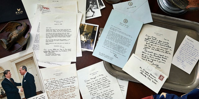 A rare collection of 40 letter from the late President Ronald Reagan now on sale.