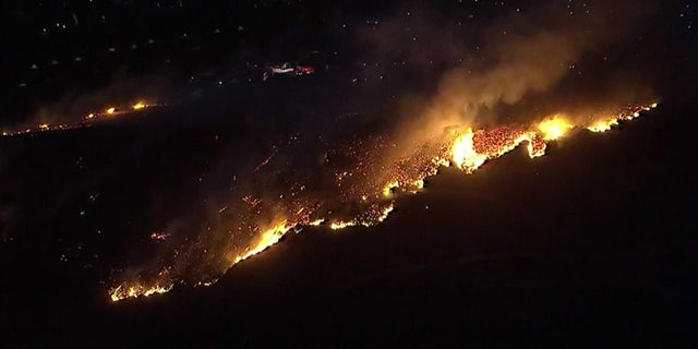 The Easy Fire was burning in Simi Valley, Calif. early Wednesday.