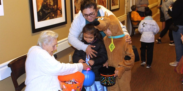 The senior home had an influx of joyous trick-or-treaters on Thursday after putting a call out for candy donations. (Heartis Senior Living)