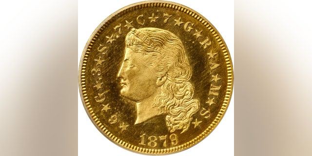 The front of the $4 Gold Stella coin. (Stack's Bowers Galleries)