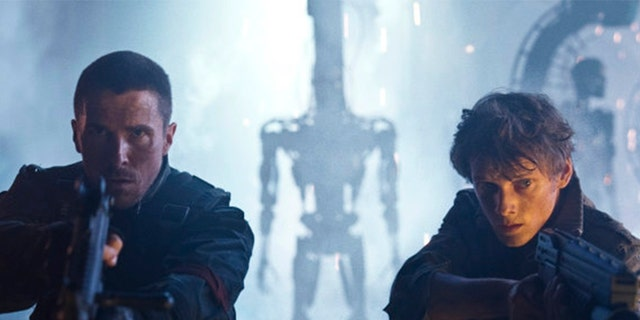 Christian Bale (left) as John Connor and the late Anton Yelchin as Kyle Reese.