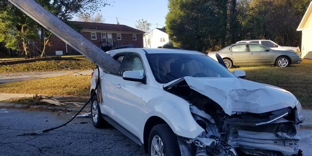 Westlake Legal Group Thomasville_PD-Pole-3 North Carolina parent 'extremely lucky' after utility pole smashes through car window Nicole Darrah fox-news/us/us-regions/southeast/north-carolina fox news fnc/us fnc article 9c85de43-2cc0-5921-a8c5-5b0e2c6121f7