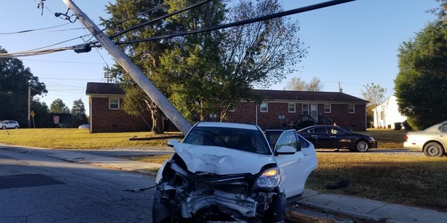 Westlake Legal Group Thomasville_PD-Pole-4 North Carolina parent 'extremely lucky' after utility pole smashes through car window Nicole Darrah fox-news/us/us-regions/southeast/north-carolina fox news fnc/us fnc article 9c85de43-2cc0-5921-a8c5-5b0e2c6121f7