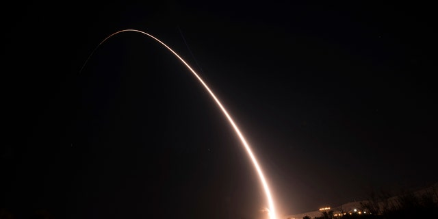 This image shows an unarmed Minuteman III intercontinental ballistic missile test launch early Wednesday, Oct. 2, 2019, at Vandenberg Air Force Base, Calif. (Michael Peterson/U.S. Air Force via AP)