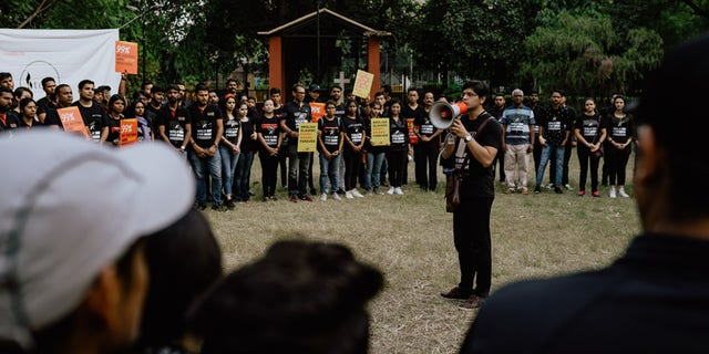 """A21 """"Walk For Freedom"""" supporters gather in Delhi, India."""